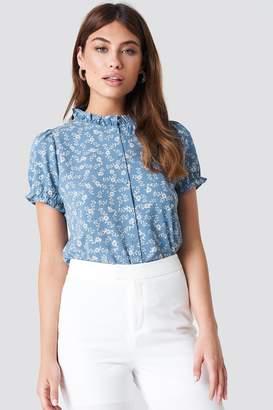 Na Kd Boho Ruffle Detail Button Blouse Bluegrey Blossom Pattern