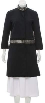 Gryphon Embellished Knee-Length Coat
