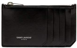 Saint Laurent Logo Debossed Leather Cardholder - Mens - Red
