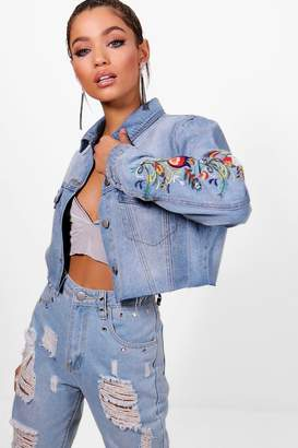 boohoo Floral Embroidered Cut off Denim Jacket