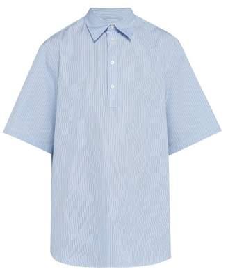 Valentino Oversized Striped Cotton Shirt - Mens - Light Blue
