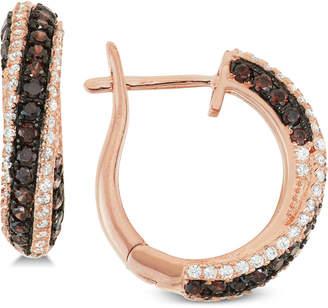 Tiara Cubic Zirconia Diagonal Hoop Earrings in 14k Rose Gold-Plated Sterling Silver