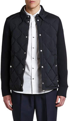 Moncler Men's Knitted-Back Zip-Front Cardigan