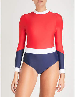 Perfect Moment Ladies Red, Snow White and Navy Wet Spring Swimsuit