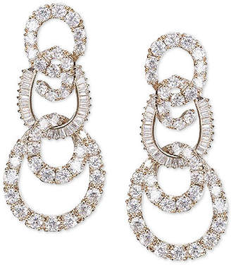 Nina Silver-Tone Pave Swirl Tiered Drop Earrings