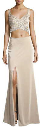 La Femme Sleeveless Beaded Cutout Gown, Nude $450 thestylecure.com