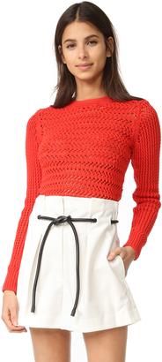 3.1 Phillip Lim Long Sleeve Crochet Pullover $395 thestylecure.com