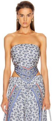 Chloé Bandana Print Strapless Top in Blue & White   FWRD