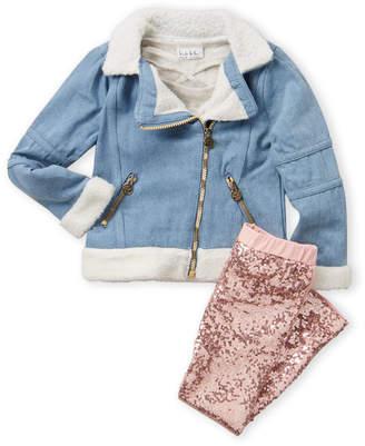 Nicole Miller Girls 4-6x) 3-Piece Denim Jacket, Top & Sequin Legging Set