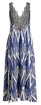 Rachel Comey Women's Panicle Ikat Lace Cotton Maxi Dress - Size 0