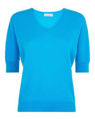 Jaeger Slouchy Cashmere V Neck Ss Top
