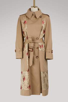 Alexander Mcqueen Floral patch trench coat