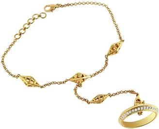 Antandre 14k Gold & Diamond Aegis Ring to Bracelet Hand Chain