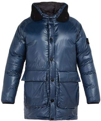 Stone Island Down Filled Nylon Hooded Coat - Mens - Navy