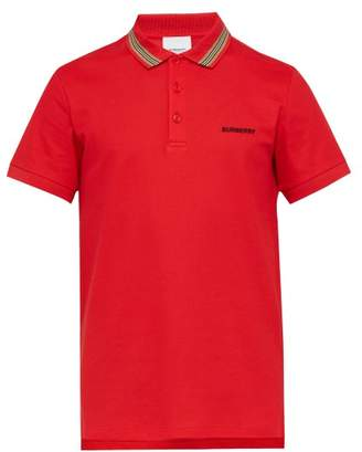 Burberry Icon Striped Collar Cotton Pique Polo Shirt - Mens - Red