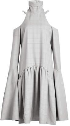 WILLIAM FAN Virgin Wool Dress with Cut-Out Shoulders