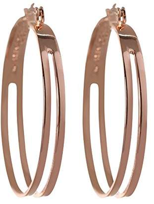 BCBGeneration BCBG Generation Silver 2 Row Hoop Earrings