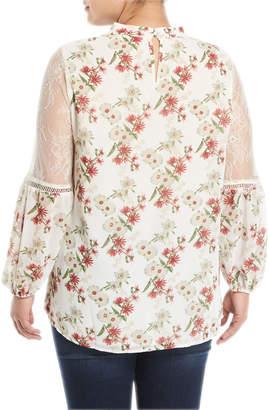 Glamorous Gigi Floral Choker-Neck Blouse, Plus Size