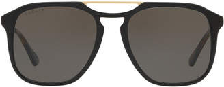Gucci Gg0321s 55 Brown Pilot Sunglasses