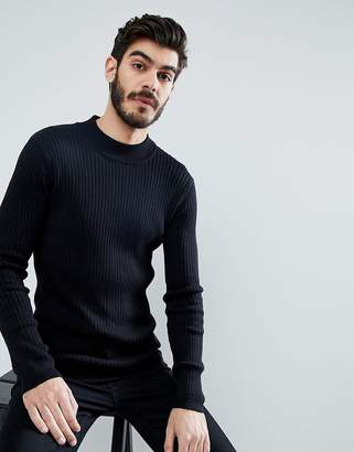 Brave Soul Rib Turtleneck Sweater