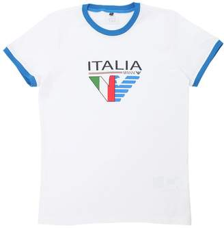 Armani Junior Italy Soccer Team Cotton Jersey T-Shirt