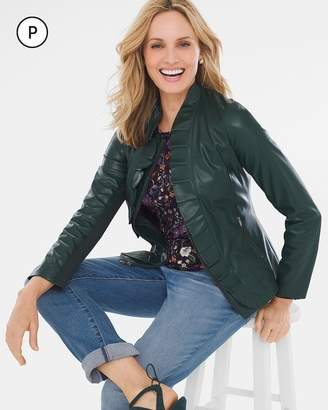 Petite Faux-Leather Ruffle Jacket