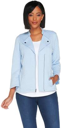 Isaac Mizrahi Live! Knit Motorcycle Jacket with Bell Sleeves