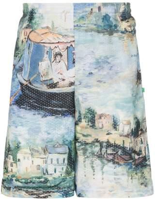 Off-White riverside print knee length shorts
