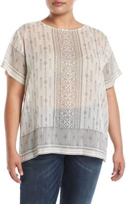 Vince Camuto Plus Ikat-Stripe Semisheer Drop-Shoulder Blouse, Plus Size