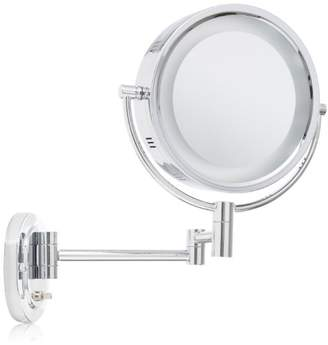 Jerdon HL65C 8-Inch Lighted Wall Mount Makeup Mirror with 5x Magnification