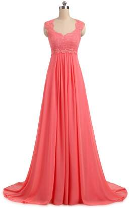 Erosebridal Chiffon Long Evening Party Gowns for Women Beach Wedding Dress Gowns Size 28w