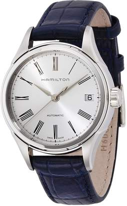 Hamilton Women's Valiant H39415654 Navy Leather Swiss Automatic Watch