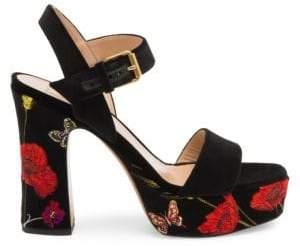 Valentino Poppy Embroidered Platform Sandals