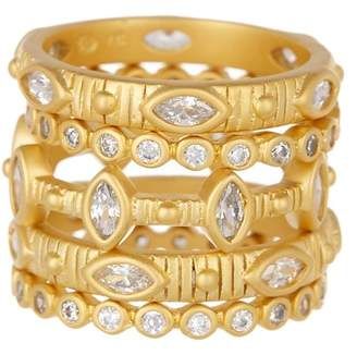 Freida Rothman 14K Yellow Gold Plated Sterling Silver Amazonian Allure Multi Stone Stacking Ring Set - Size 6