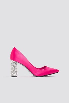 Na Kd Shoes Glitter Heel Satin Pumps Magenta/Silver
