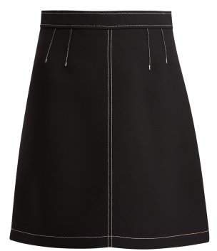 RED Valentino Top Stitch Mini Skirt - Womens - Black