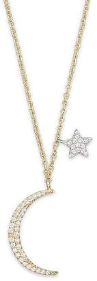 Meira T Diamond Moon Necklace in 14K Yellow Gold, .22 ct. t.w., 16""