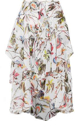 Jason Wu Ruffled Printed Silk-crepon Midi Skirt - White