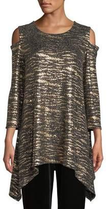 Caroline Rose Cat's Meow Sparkle Knit Tunic, Plus Size