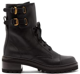 See by Chloe Buckled Leather Boots - Womens - Black