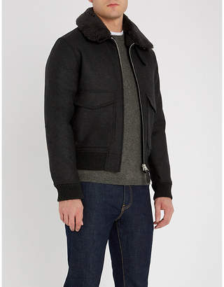 Sandro Padded wool-blend and shearling jacket