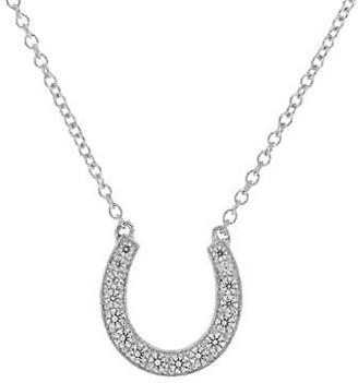 Diamonique Horseshoe Necklace, Platinum Clad