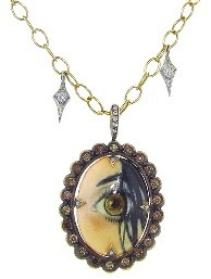 """Cathy Waterman Eye of Love"""" on Tiny Lacy Chain with Diamond Fringe"""