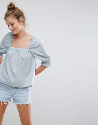Asos DESIGN Square Neck Top with Puff Sleeve in Dobby
