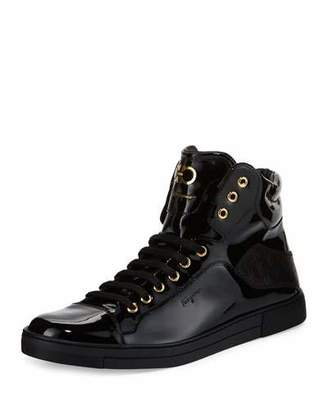 Salvatore Ferragamo Stephen 2 Men's Patent Leather High-Top Sneaker, Black $595 thestylecure.com