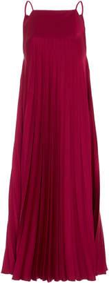 Paule Ka Satin Pleated Midi Dress