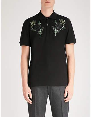 Alexander McQueen Rose-embroidered cotton polo shirt