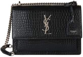 Saint Laurent Medium Croc-Embossed Sunset Shoulder Bag