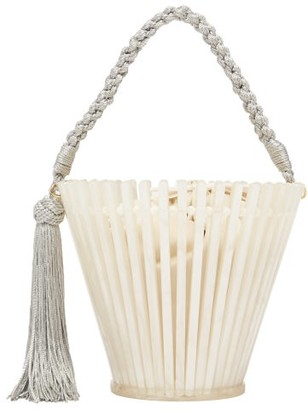 Montunas Trellis Lirio Pearlescent Acetate Bucket Bag - Womens - White Multi