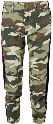 Mother No Zip Misfit Striped Camouflage-print Cotton-blend Track Pants - Army green